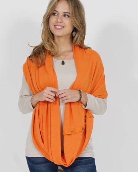 Wrap & scarf in one w/Adjustable snaps - face mask deep orange