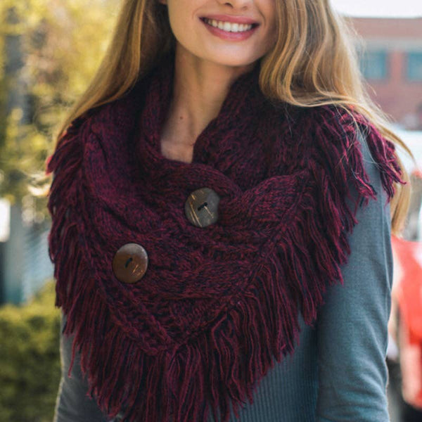 Heathered Infinity Scarf w/buttons Burgundy