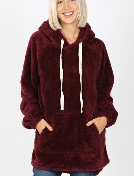 Aria faux fur Hooded Sweatshirt - burgundy