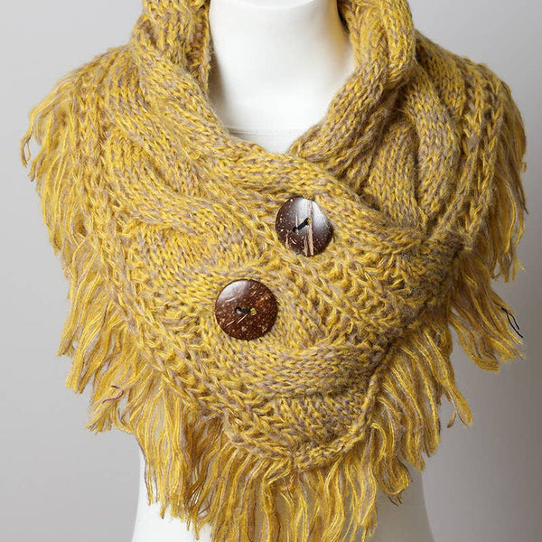 Heathered Infinity Scarf w/buttons Lemon