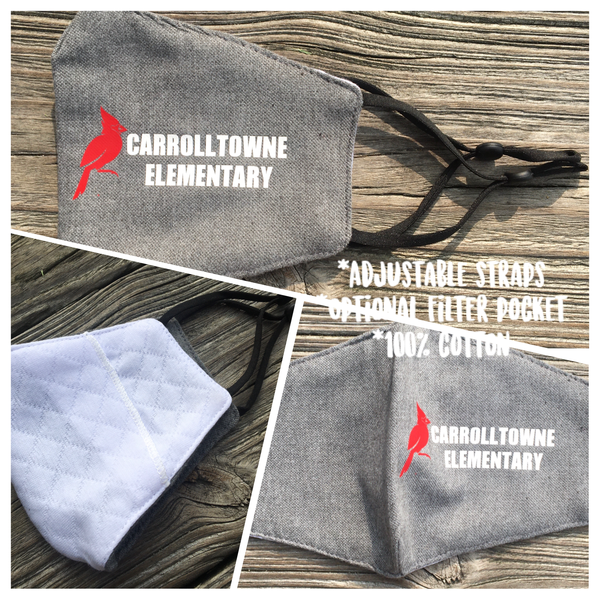 Carrolltowne Elementary Adjustable Kids Face Mask - Grey