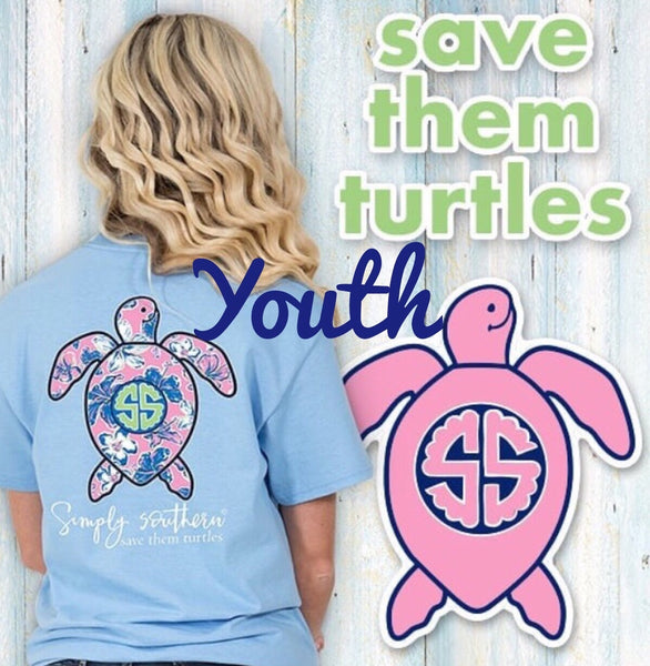 Simply Southern YOUTH Save the Turtles Blue Tee