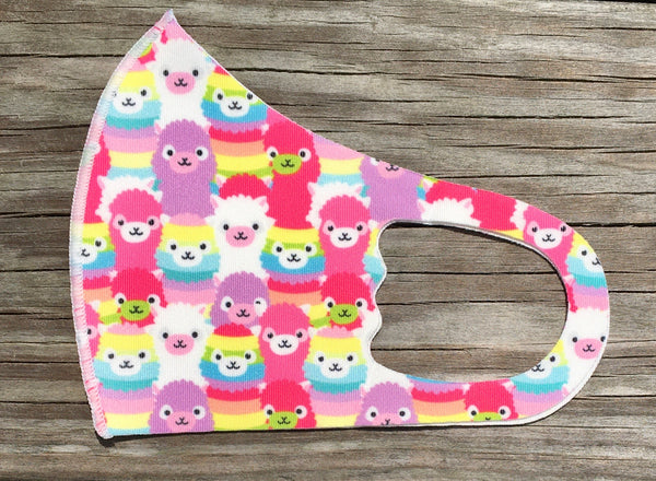 Kids Face Mask - rainbow llama