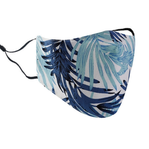 Adult face mask - adjustable cotton tropical blue