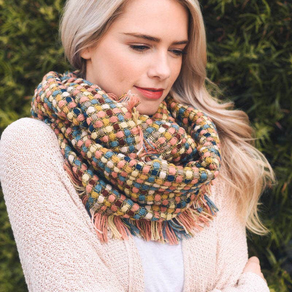Multicolor Woven Frayed Edge Scarf