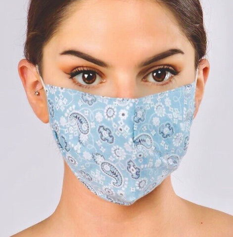 Adjustable cotton face mask - denim bandana paisley