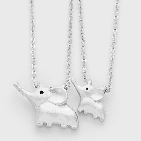 Mother & Daughter Elephant Necklace Set