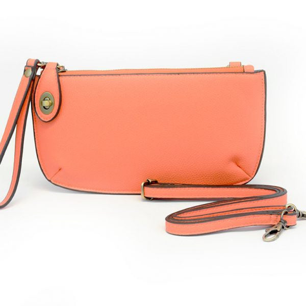 Mini Crossbody Wristlet Clutch- Papaya
