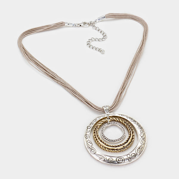 Mixed Metal Hoop Pendant Necklace - Silver