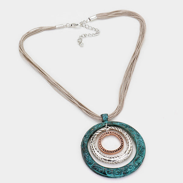 Mixed Metal Hoop Pendant Necklace - Verdigris