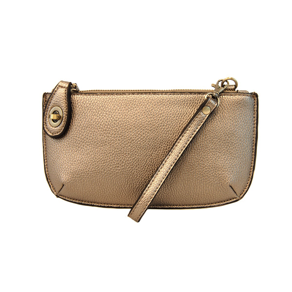 Mini Crossbody Wristlet Clutch- Metallic Light Bronze