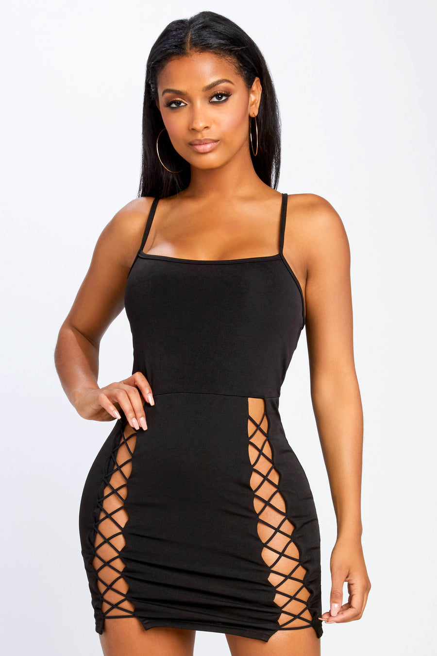 In The Moment Lace Up Dress