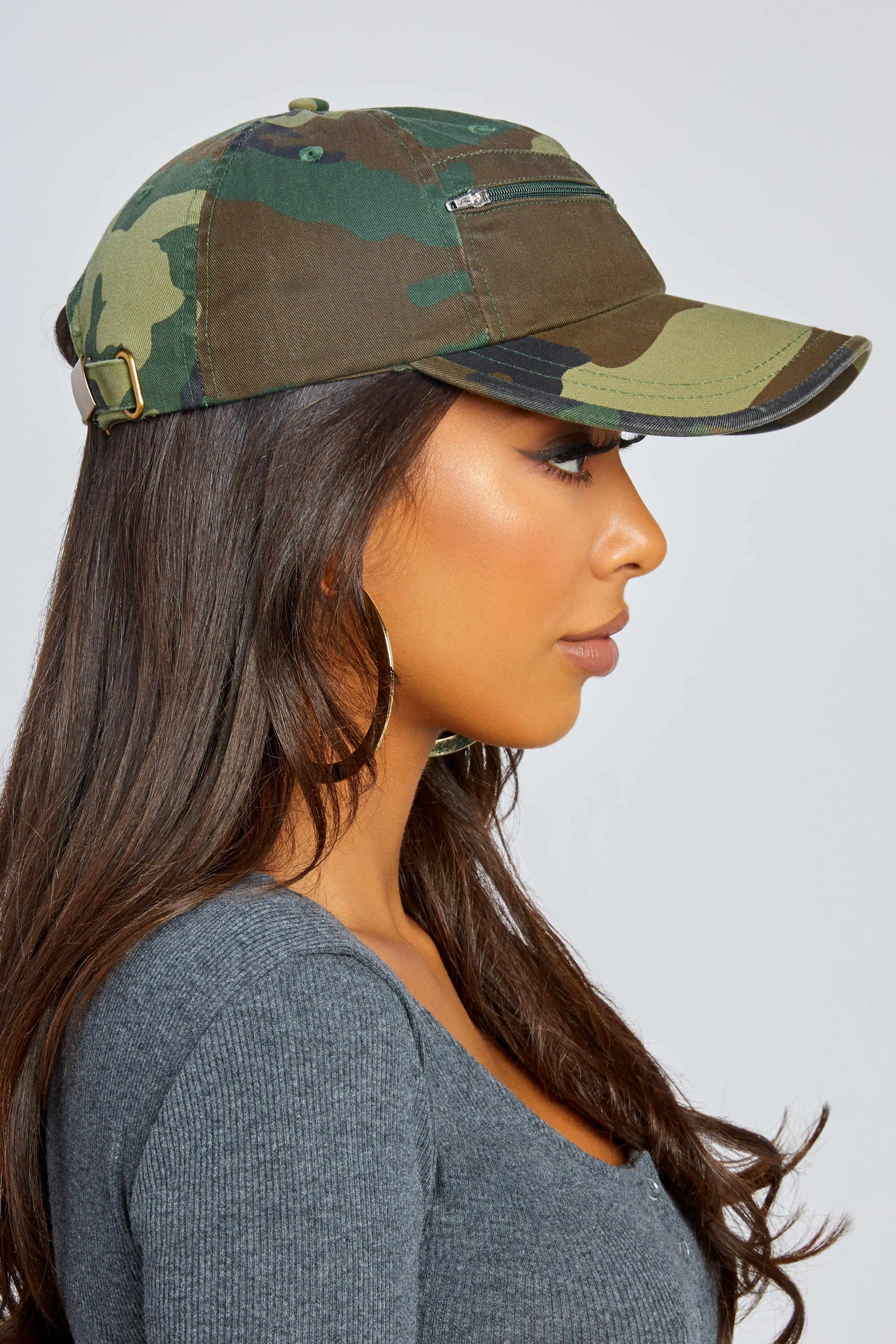 Camo Front Zip Baseball Hat