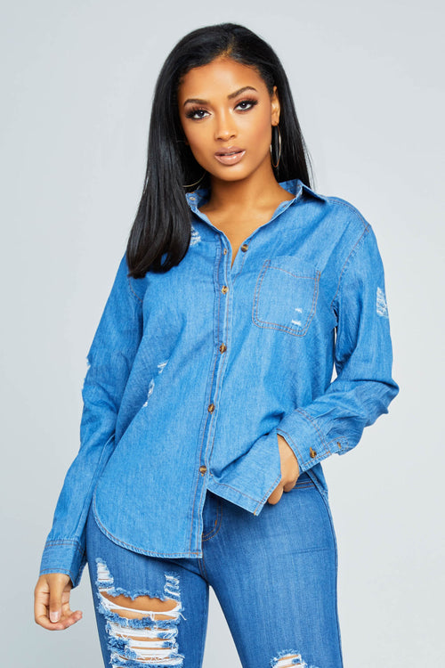 Estrella Distressed Denim Top