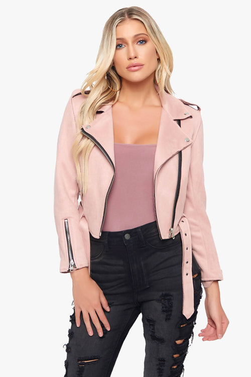 Please Stop Suede Moto Jacket