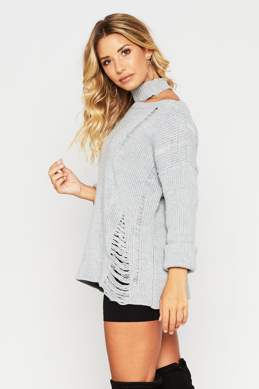 Watson Distressed Sweater - HoneyBum