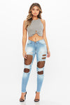 Nicki Distressed Skinny Jean - HoneyBum
