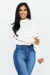 Lace Sleeve Cropped Pullover - HoneyBum