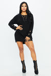 Lexi Lace Up Tunic Sweater - HoneyBum