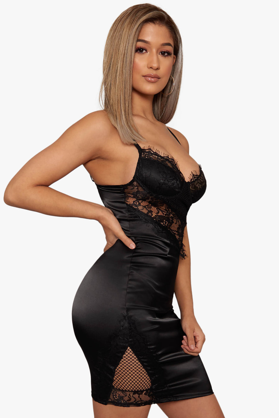 Strictly Lace Satin Dress