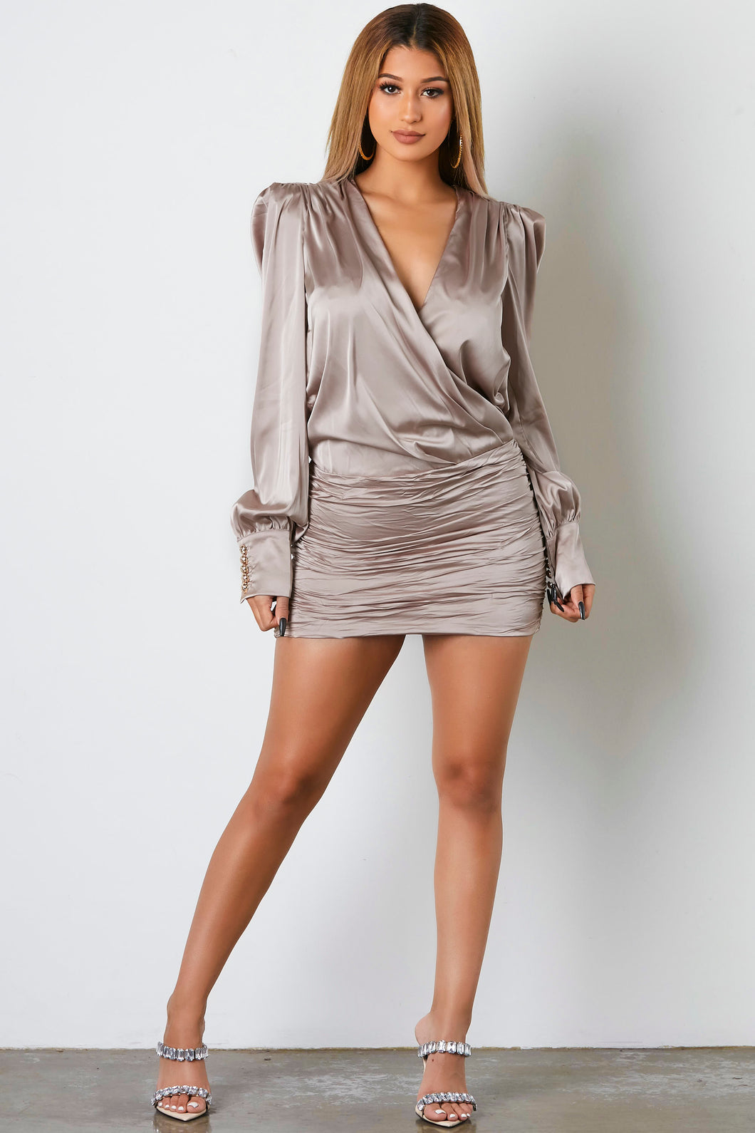 Straight Talk Ruched Mini Dress