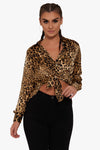 Ferocious Leopard Button Down Top