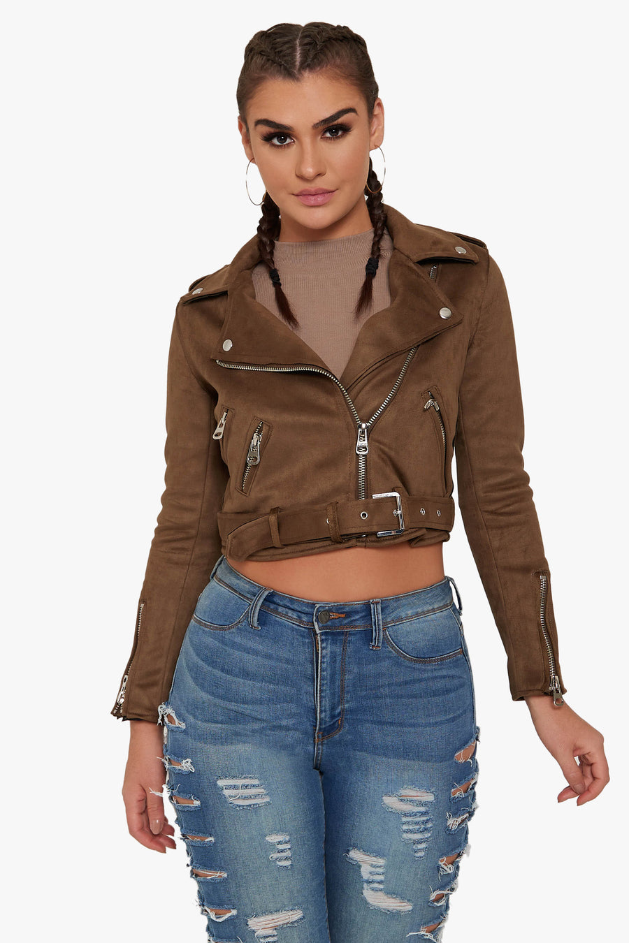 Single And Ready Suede Moto Jacket