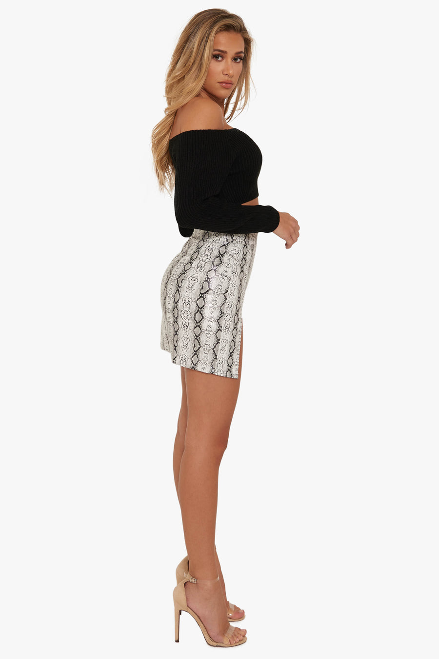 Addiction Python Slit Skirt