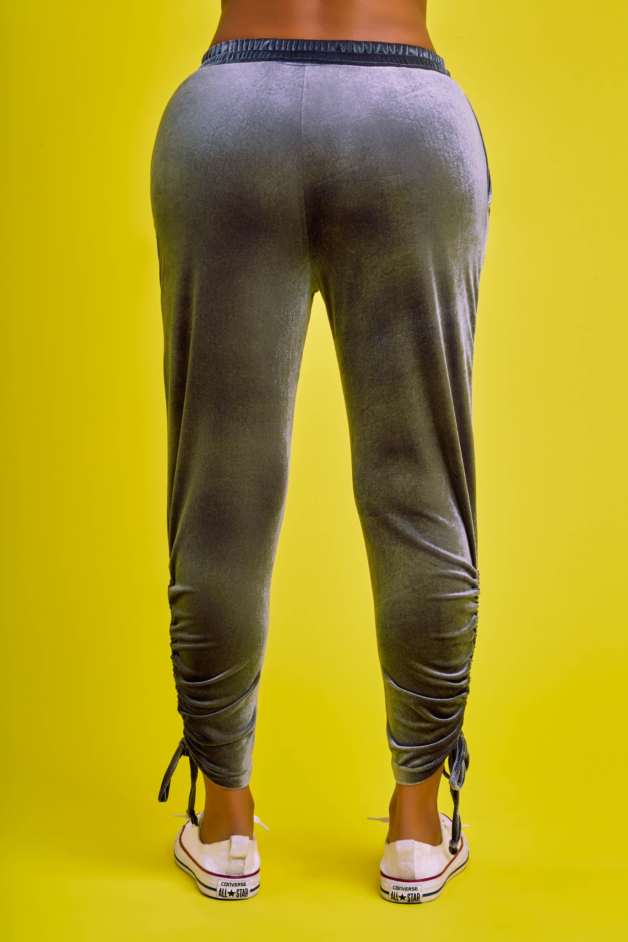 Honeybum Ruched Velour Jogger