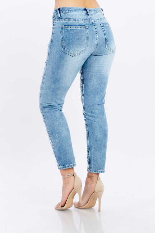 Sequined Distressed Jeans