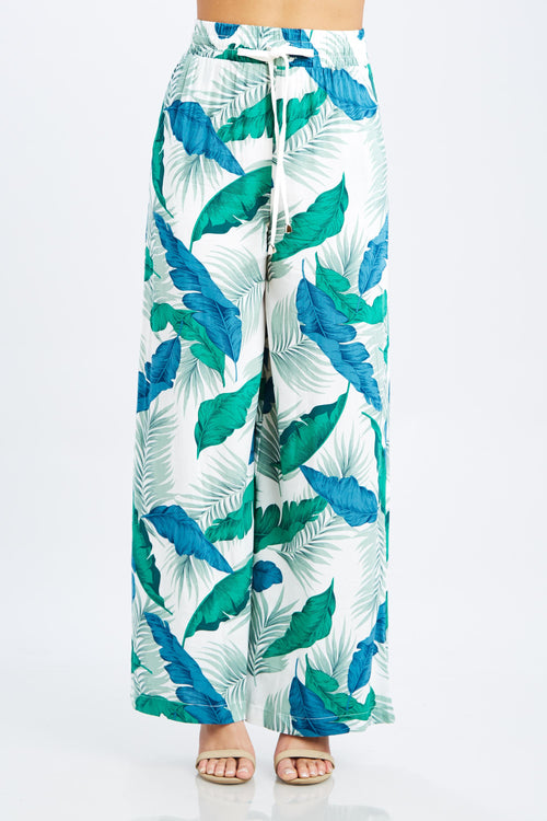 Tropical Wide Leg Pants