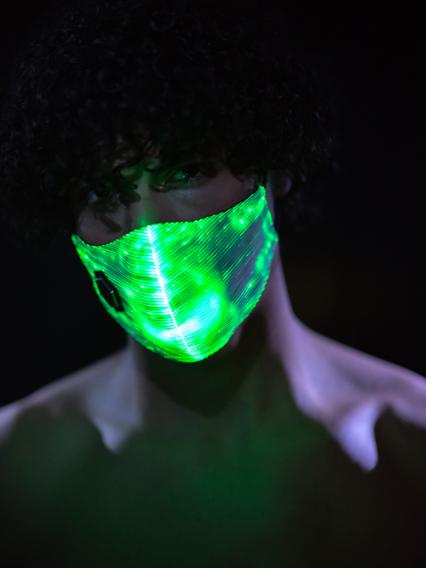 Divinity Mask Green Light Up Mask Rave