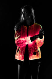 Red color mode Prophecy bomber enhanced on a young female