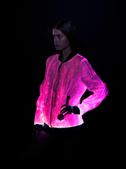 Prophecy Bomber Womens Festival Clothing Jacket Pink Light Up