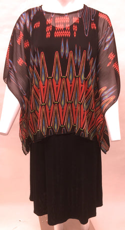 Black & Multi-colored Scarf Flowing Top. Style# A117-Bk
