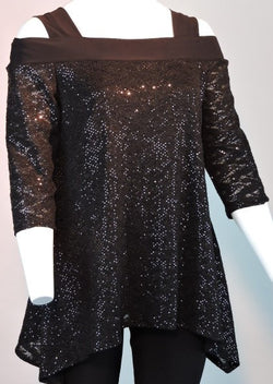Black Sequin Lace Off The Shoulder Top. Style# A135*