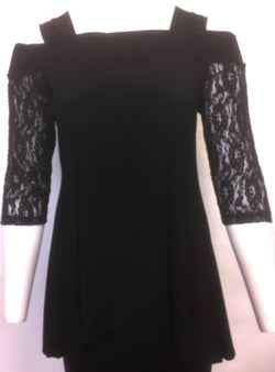 Black Lace Sleeve Off the Shoulder Top. Style# A136-Bk
