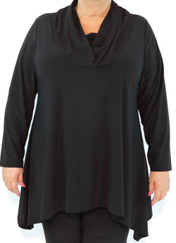 Black Cowl Neck Top. Style# A138-Bk