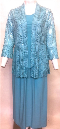 Aqua 3-piece Burn-Out Ribbon Jacket, Full Length Skirt & Sleeveless Top