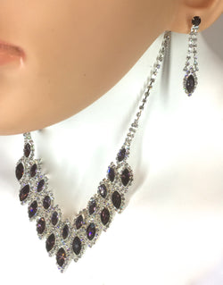 "Amethyst/Crystal Oval Dangle Necklace Set 16"" + 4""L. Style# Ch123"