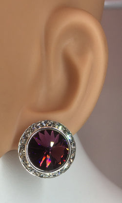 "Amethyst/Crystal Rhinestone Earrings About 1""L. Style# E103-Am"