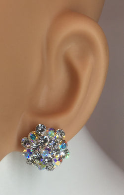 "Aurora Borealis/Silver Flower Cluster Clip Earring 3/4""h. Style# E112"