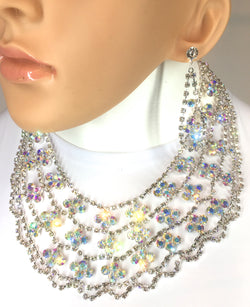 "AB Crystals in Silver Crown Necklace Set. 18+2"", Ears 2.5""L. Style# N130"