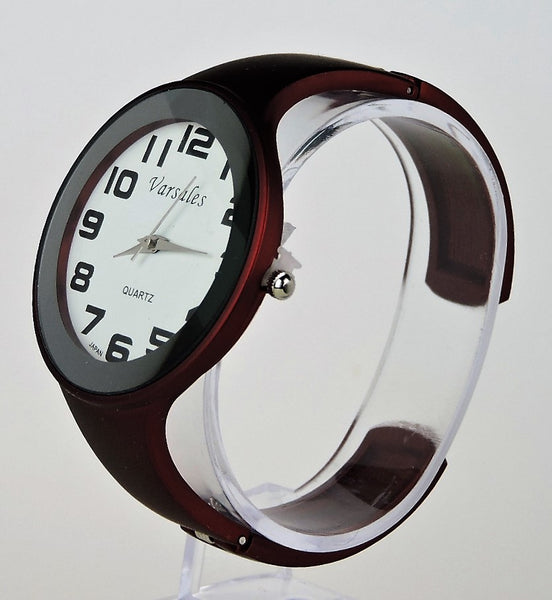 Hinged, Cuff-Style Black Cherry Large Round Face Watch. Style# W101