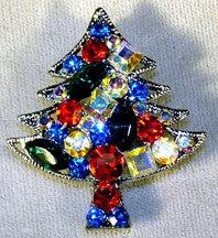Christmas Tree Pin with Assorted Colored Crystals