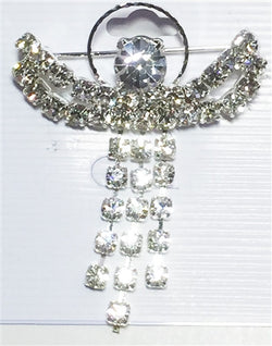 "Silver Angel with Beautiful Moving Dress Rhinestones 1-3/4""h"