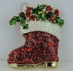 Red Santa Boot with Holly& Berries Pin/Pendant Trimmed in Gold-tone