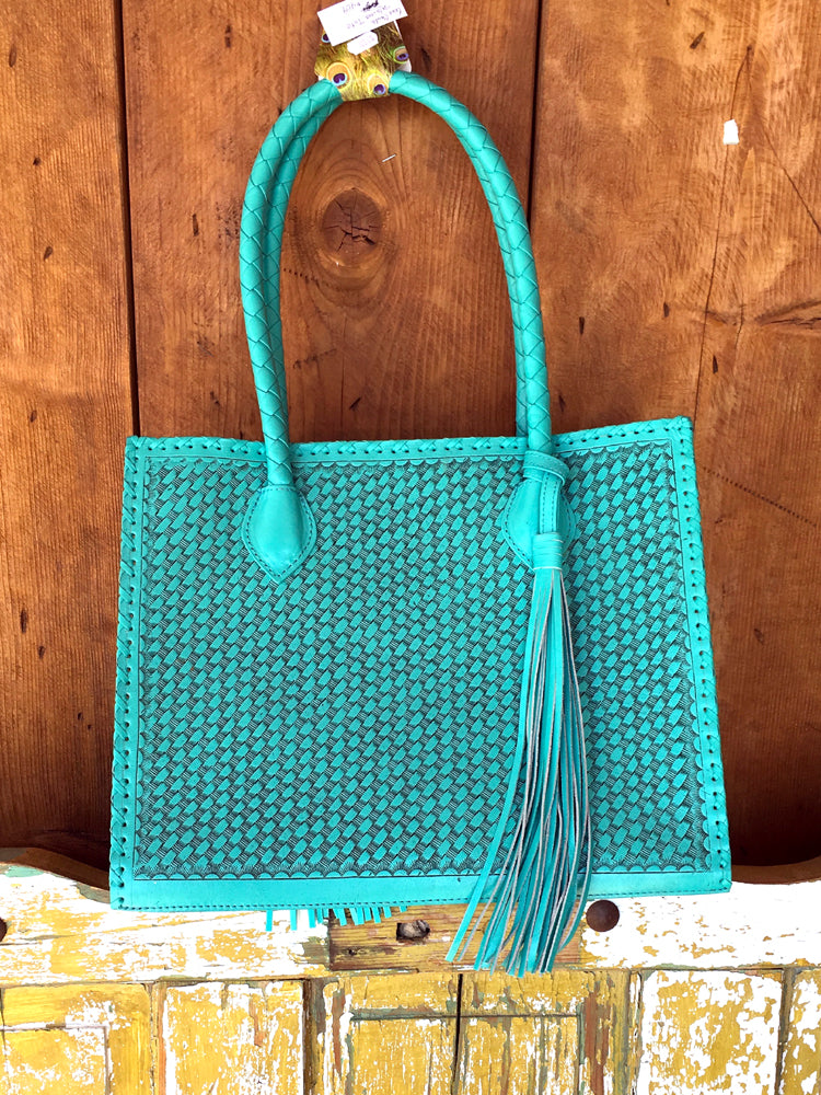 Que Chula! Marcos Large Tooled Leather Turquoise Tote Bag - Jewelry ... 8575075ee154f