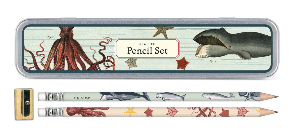 Cavallini & Co. Sea Life Pencil Set-set of 10 pencils in resusable tin.