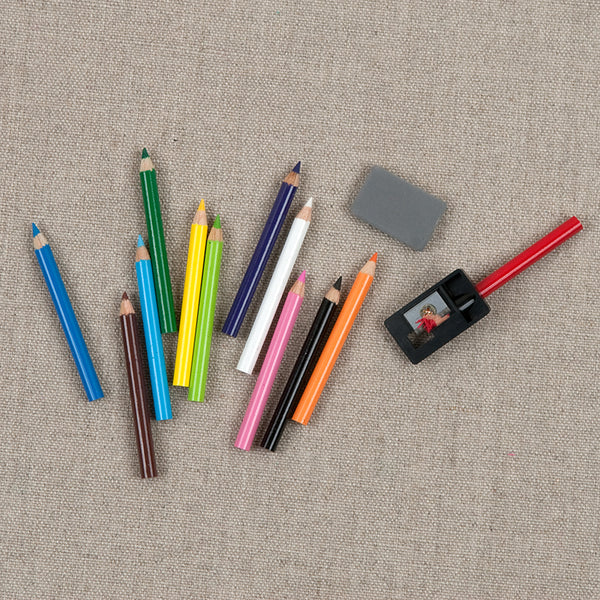 Mini Colored Pencil Set with Eraser and Sharpener